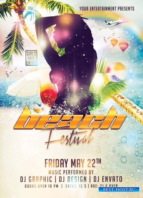 Beach Festival psd flyer template