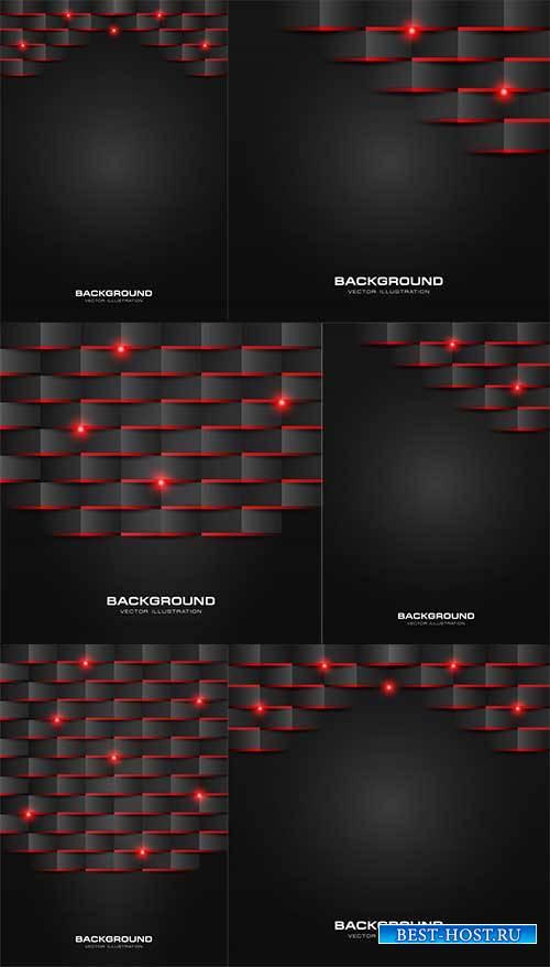 Чёрные с красным абстрактные фоны в векторе / Black with red abstract backg ...