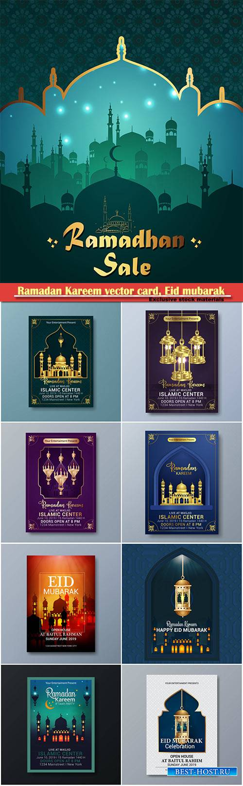 Ramadan Kareem vector card, Eid mubarak calligraphy design templates