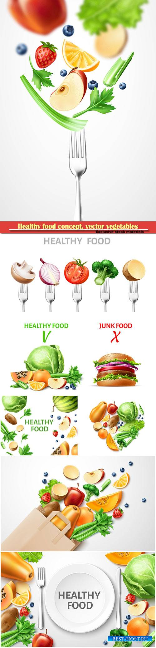 Healthy food concept, vector organic vegetables and fruits