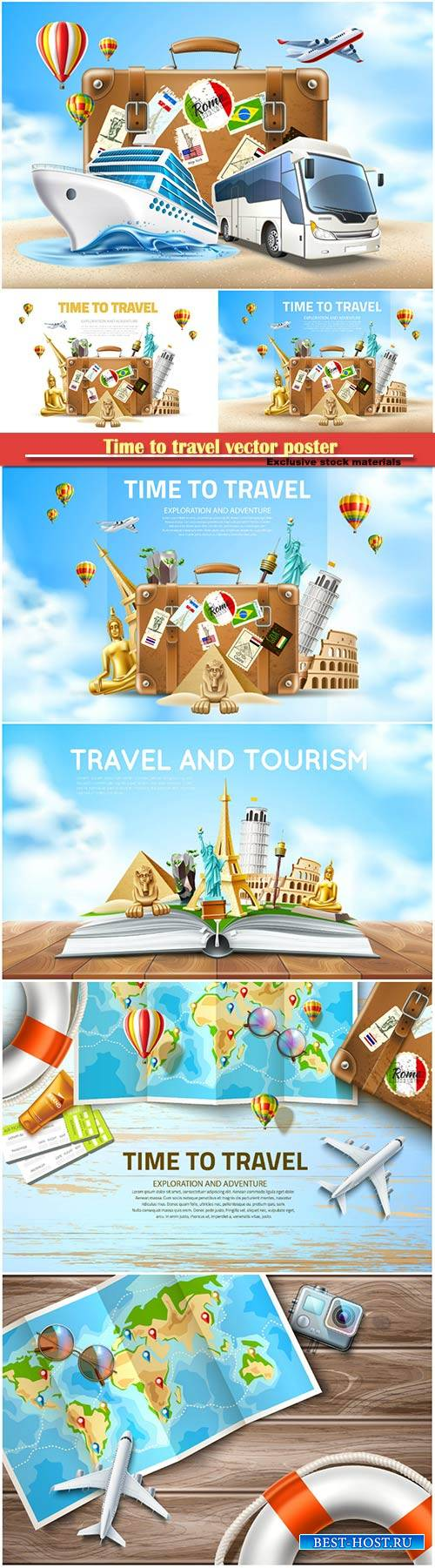Time to travel vector poster, travelling and tourism banner
