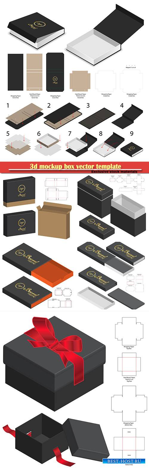 3d mockup box vector template