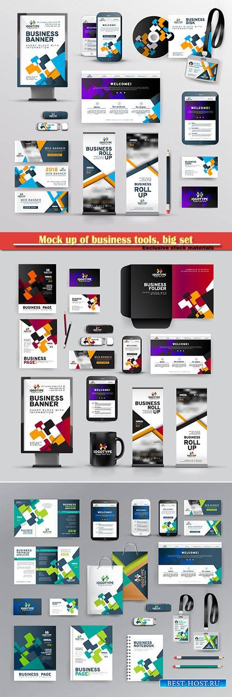 Mock up of business tools, big set of branding identity design