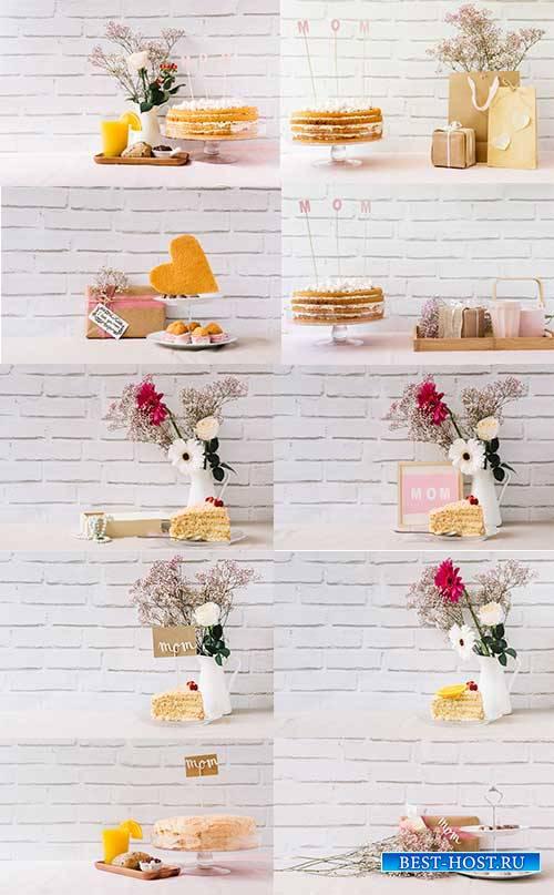 Цветы и десерт - Растровый клипарт / Flowers and dessert - Raster clipart