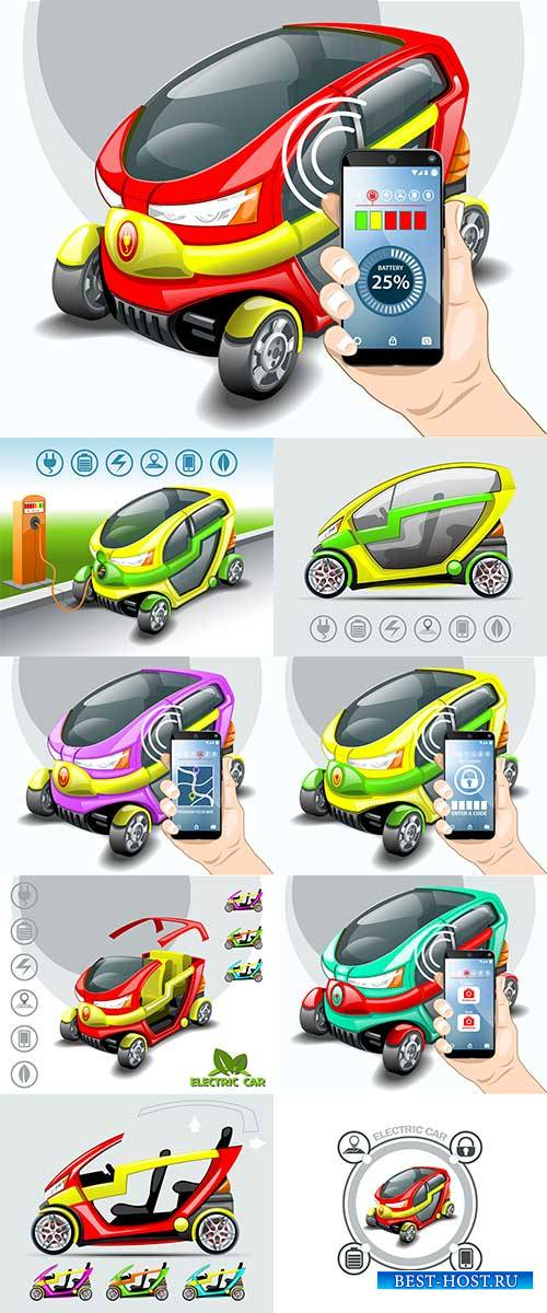 Электромобиль в 3D - Векторный клипарт / Electric car in 3D - Vector Graphics