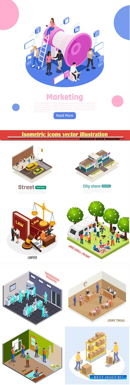 Isometric icons vector illustration, banner design template # 49