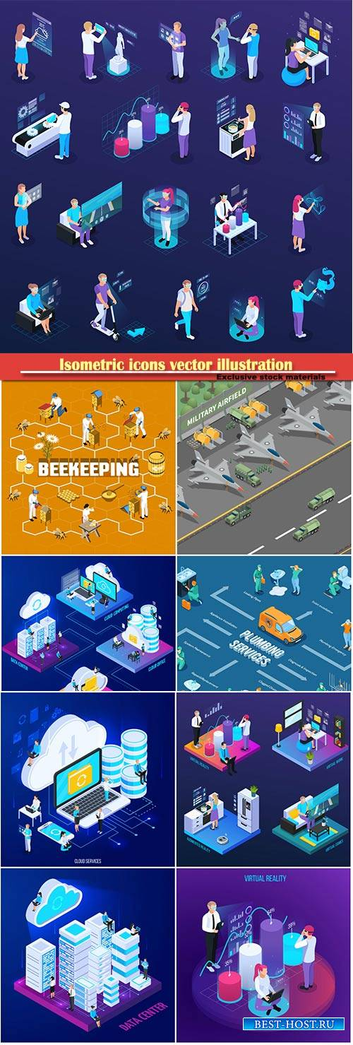 Isometric icons vector illustration, banner design template # 50