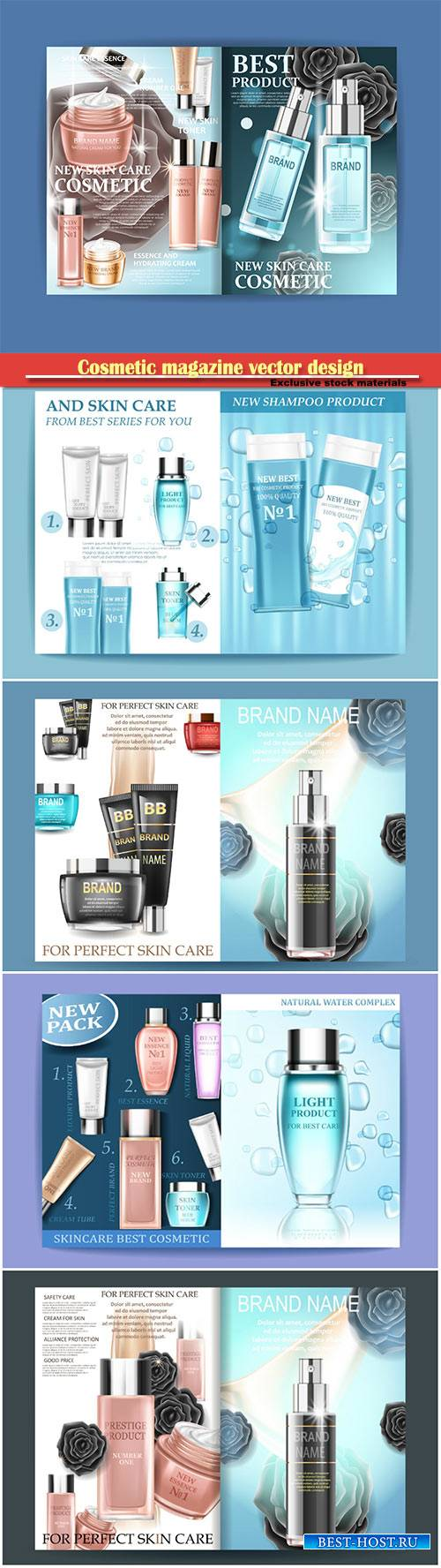 Cosmetic magazine vector design, best care, can be used for different projects