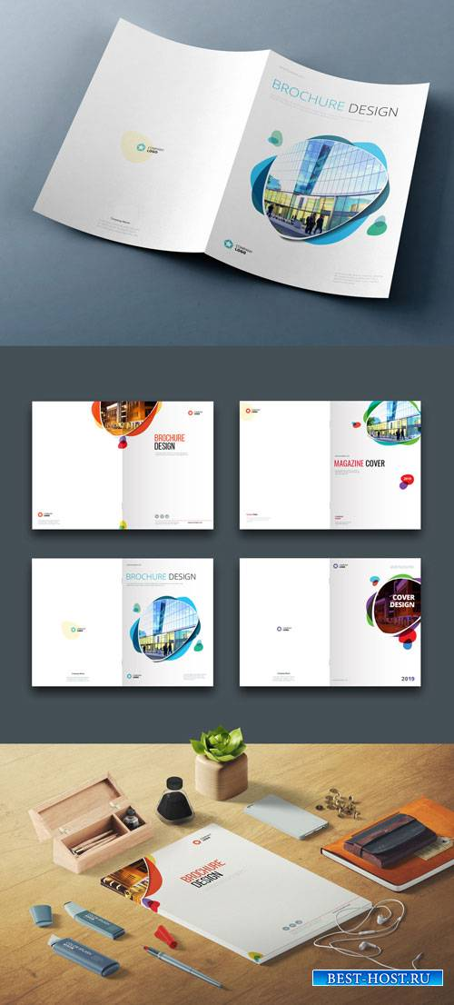Four Business Cover Layouts with Layered Abstract Spots