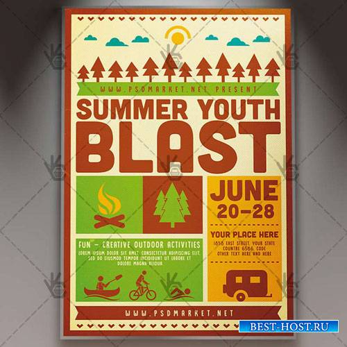 Summer Blast Camp Flyer – PSD Template