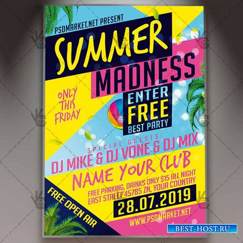 Summer Madness Flyer – PSD Template