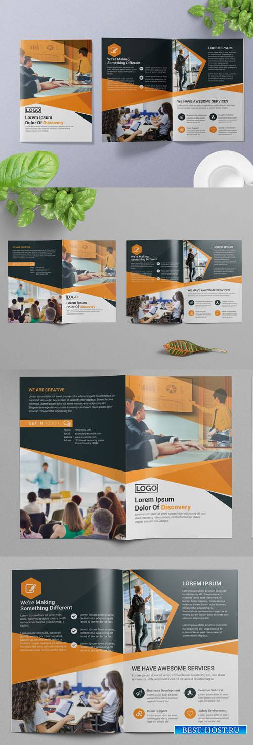 Bifold Brochure Layout with Orange and Dark Gray Accents 266786792