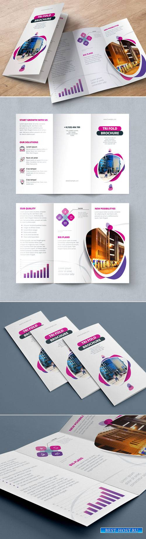 Pink and Purple Trifold Brochure Layout with Abstract Spots 212820461