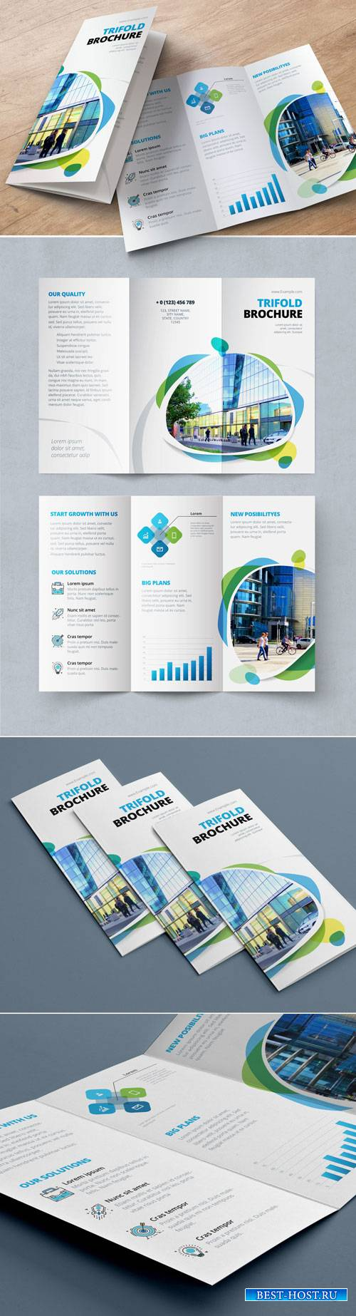 Blue and Green Trifold Brochure Layout with Abstract Spots 212820467