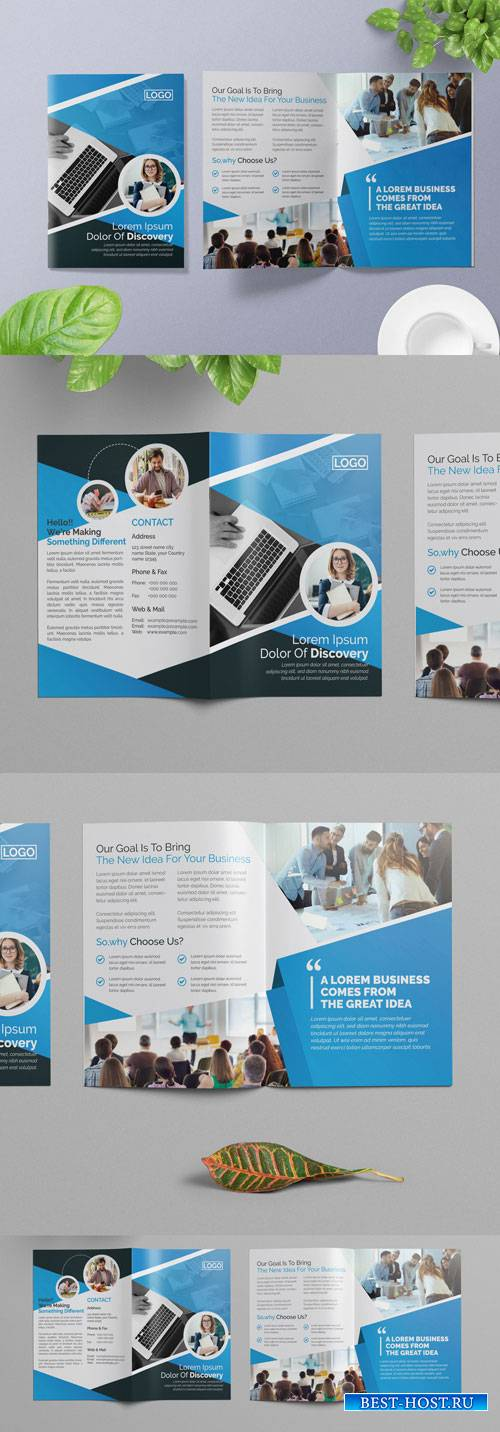 Corporate Bifold Brochure Layout with Blue Elements 266786808