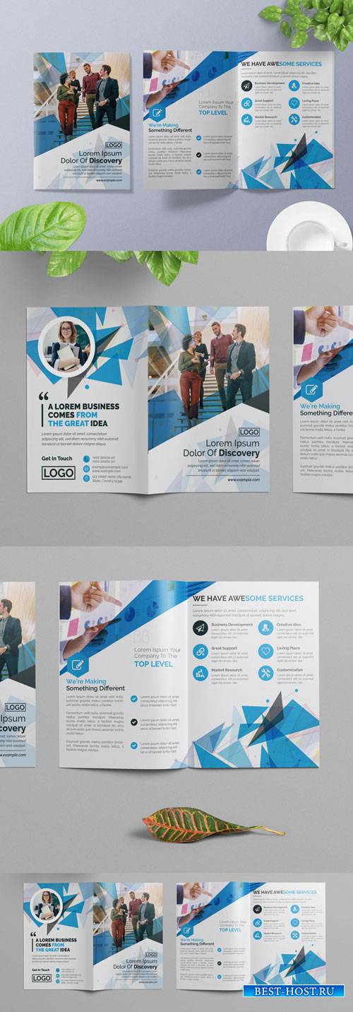 Blue Abstract Bifold Brochure Layout 266786771