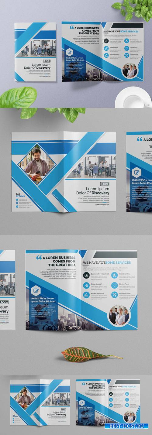 Business Brochure Layout with Blue Elements 266786795