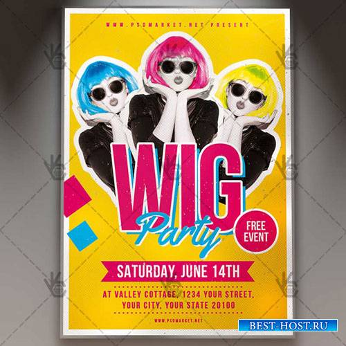 WIG PARTY FLYER - PSD TEMPLATE