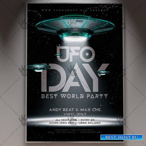 UFO DAY FLYER - PSD TEMPLATE