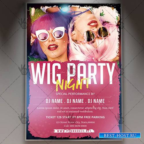 WIG PARTY NIGHT FLYER - PSD TEMPLATE