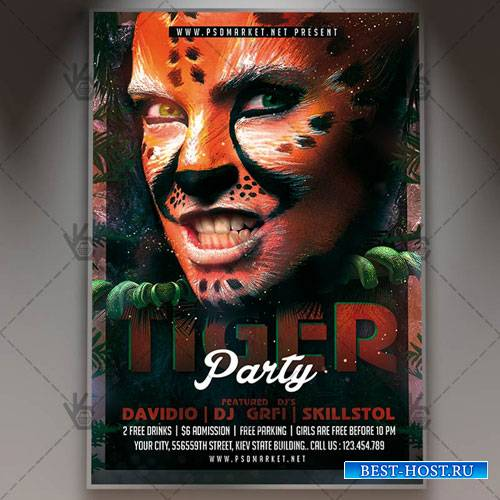 Tiger Party Flyer - PSD Template
