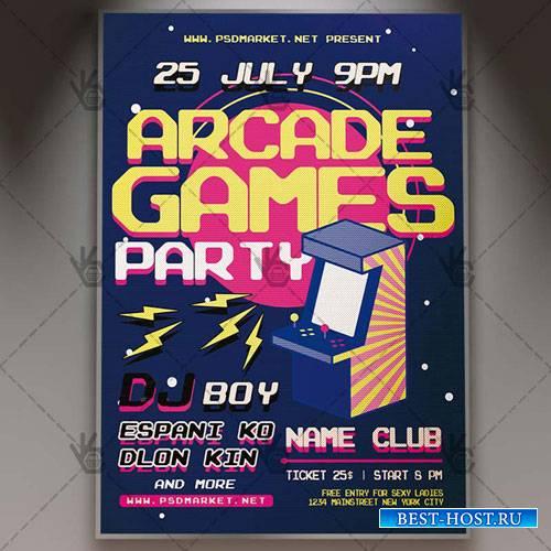 Arcade Game Flyer - PSD Template