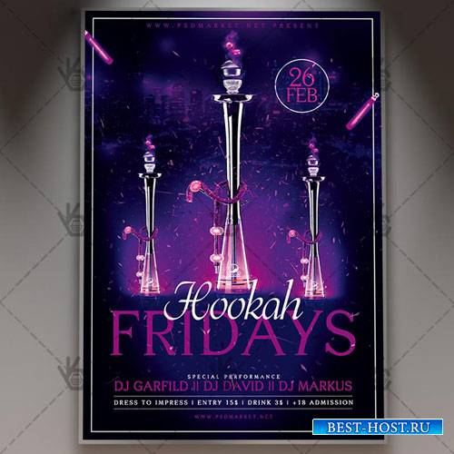 Hookah Fridays Flyer - PSD Template