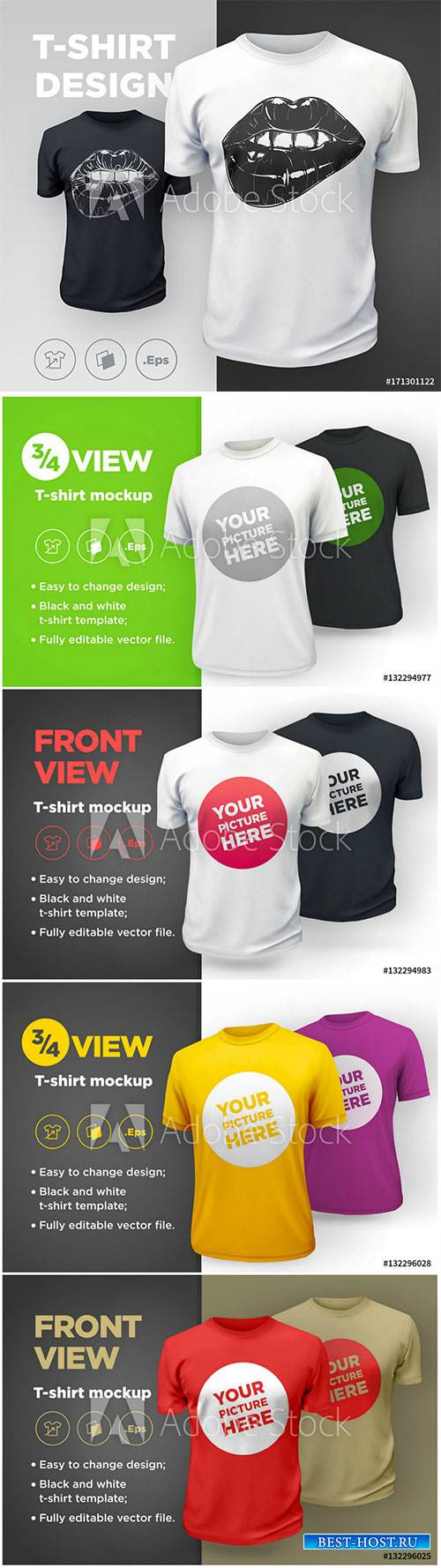 Men's t-shirt with short sleeve mockup vector illustration