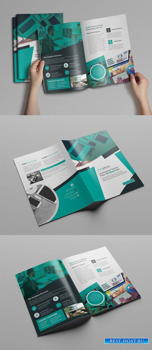 Bifold Brochure Layout with Teal Accents 253418592