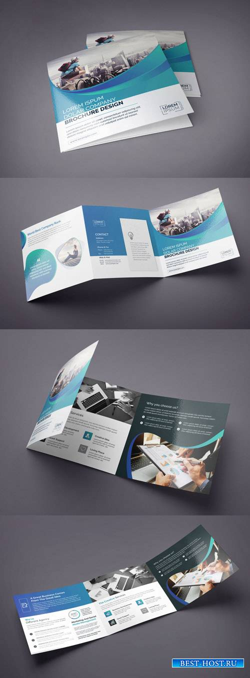 Square Tri-Fold Brochure Layout 224901047