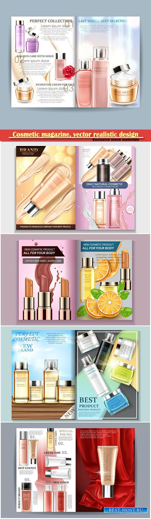 Cosmetic magazine, vector realistic design for your projects
