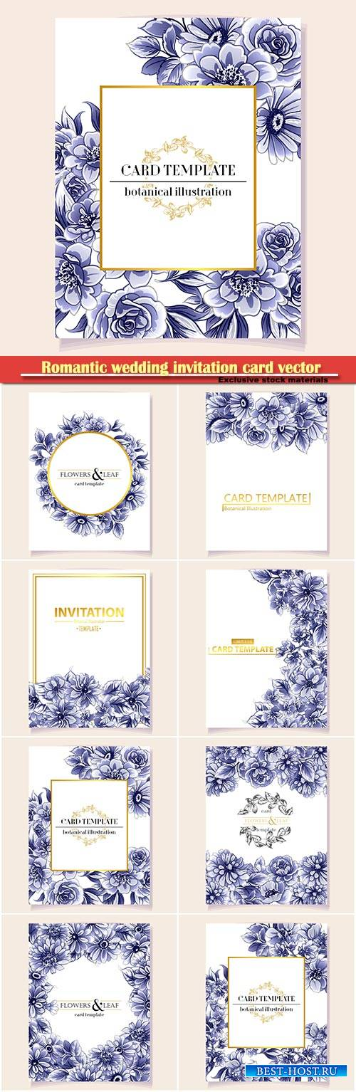 Romantic wedding invitation card vector illustration