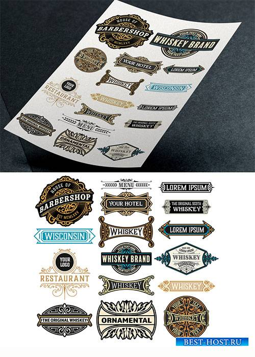Vintage-Style Logo and Badge Set