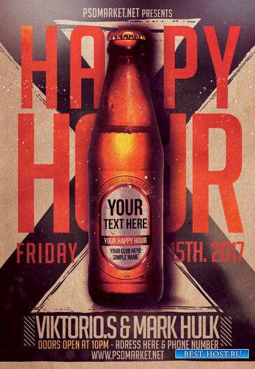 HAPPY HOUR NIGHT – PREMIUM FLYER PSD TEMPLATE