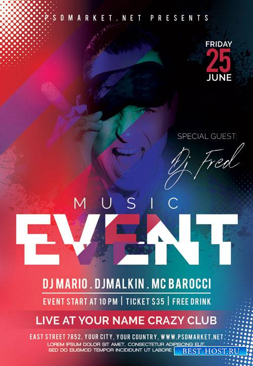 Club Music Event Flyer – PSD Template