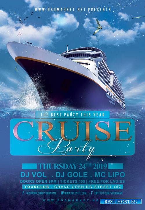 Cruise Party Night Flyer – PSD Template