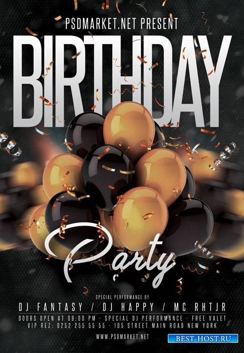 Birthday Event Flyer – PSD Template