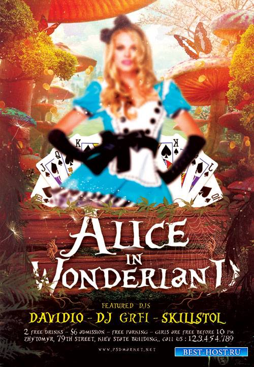 Alice in Wonderland Party Flyer – PSD Template