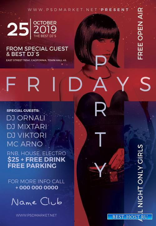 FRIDAYS PARTY FLYER - PSD TEMPLATE