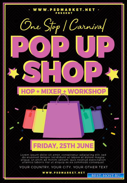 POP UP SHOP FLYER -  PSD TEMPLATE