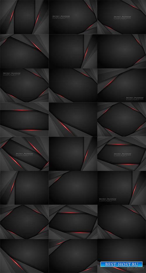 Чёрные фоны с красными линиями в векторе / Black backgrounds with red lines ...