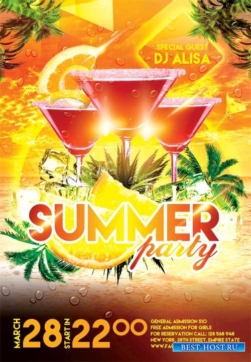 Summer Party 2 psd flyer template