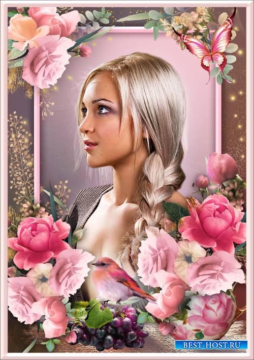 Рамка для Фотошопа - Роза благоухает, страстная, но ранима, колкая нетерпим ...