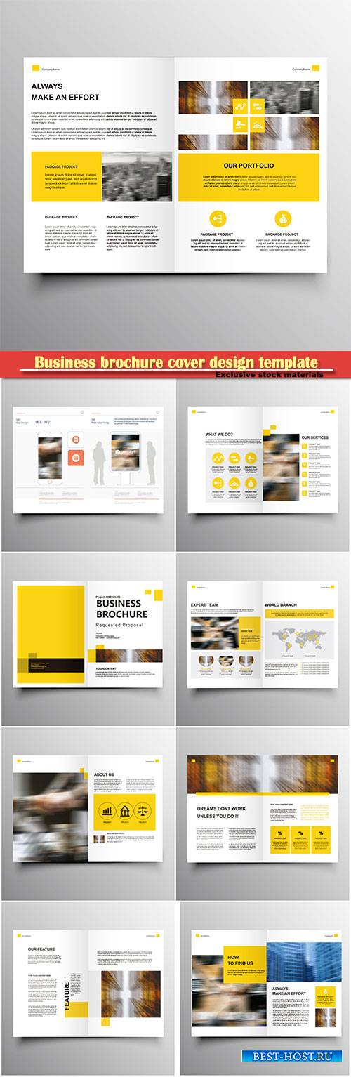 Business brochure cover design template, vector flyer # 2