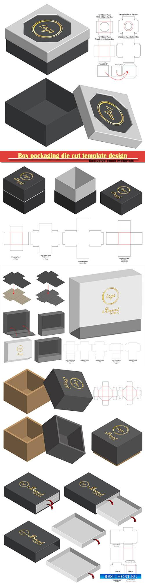 Box packaging die cut template design, 3d mock-up