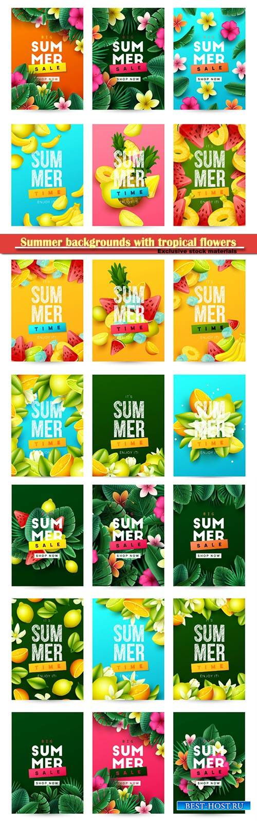 Summer backgrounds with tropical flowers and palm leaves