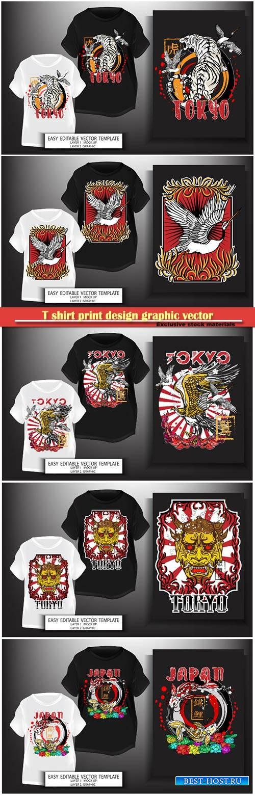 T shirt print design graphic vector illustration