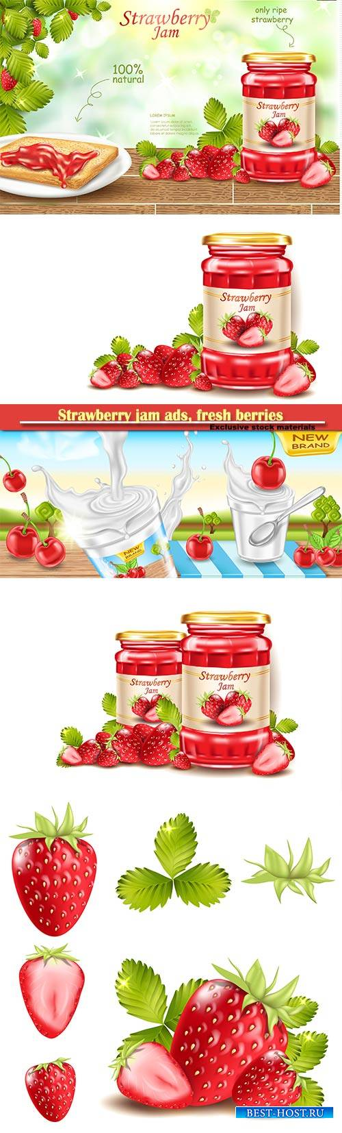Strawberry jam ads, fresh berries realistic 3d illustration