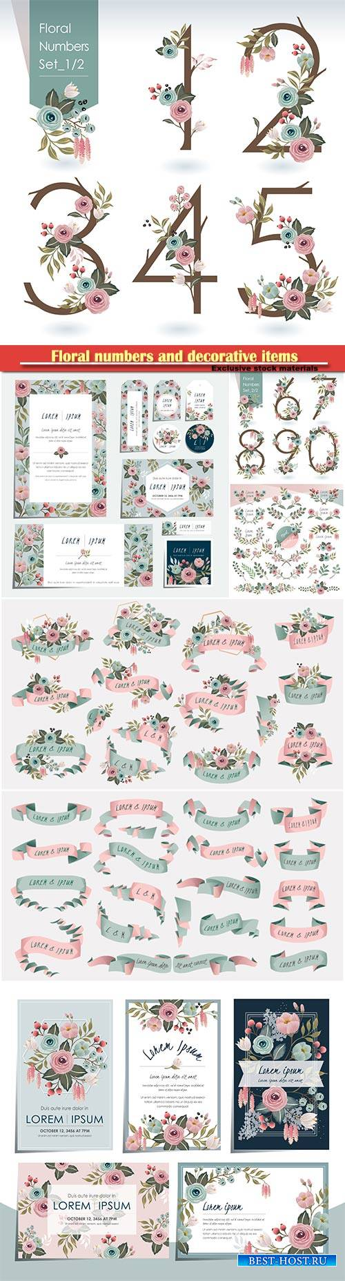 Floral numbers and decorative items for creativity