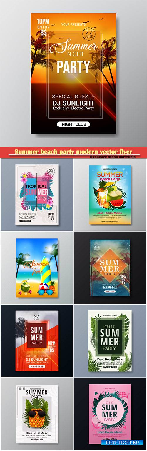 Summer beach party modern vector flyer template